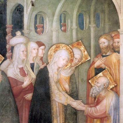 Mary and Elisabeth Meet ZachariahLorenzo and Jacopo Salimbeni about 1416