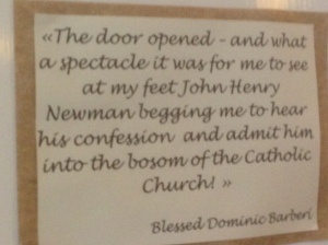 This quote from Blessed Barberi on Newman's request to become Catholic.