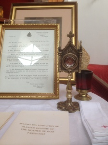 A relic of Blessed Dominic Barberi at eh church I visited at Littlemore.