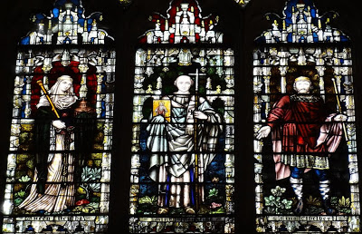 Here are King Ethelbert of Kent and Queen Bertha, with Augustine:
