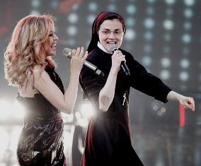 Singing with Kylie Minogue